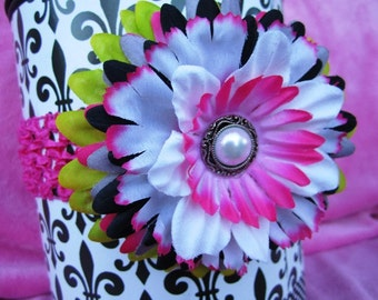 Boutique Hair Bow Flower Clip with free matching headband