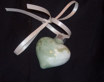Hand painted mini glass heart ornament H35 - Save 15% with coupon code NEEDAGIFT