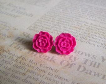 Rasberry Flat Rose Earrings