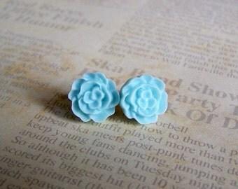 Earrings- Light Blue Flat Rose