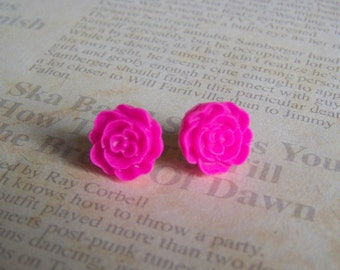 Fuchsia Flat Rose Earrings
