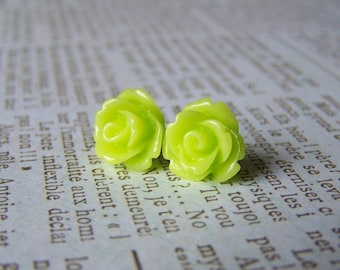 Chartruese Rose Earrings