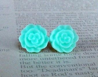 Light Turquoise Flat Rose Studs