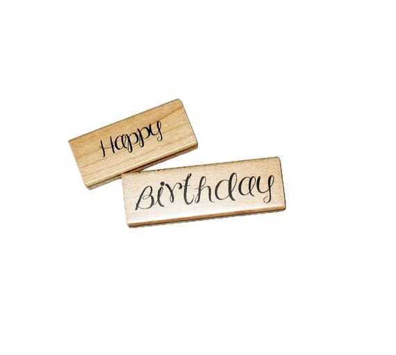 ON SALE Happy Birthday Rubber stamp cursive print