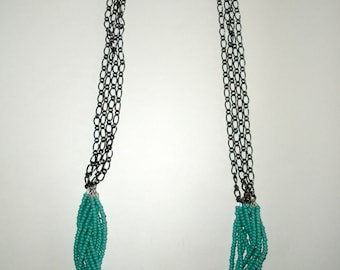 Turquoise & Chain Necklace