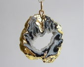20% Off - Holiday Sale - Gold-fill Long Gold Plated Geode Slice Necklace