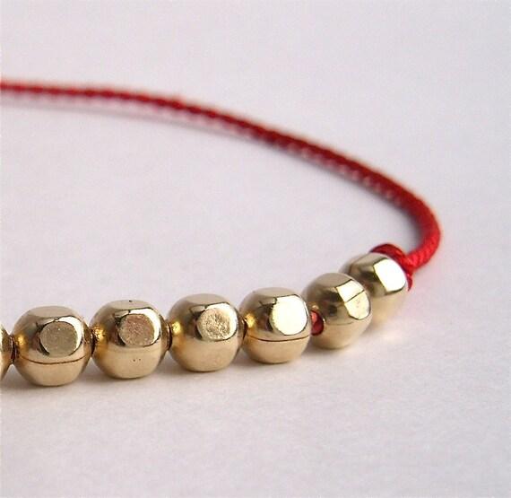 Gold Filled and Red Silk Bracelet