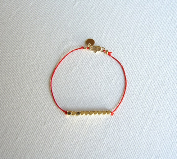 Brass and Red Silk Bracelet