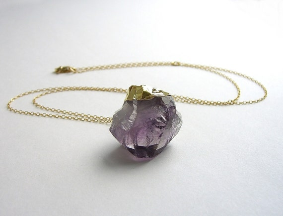 SALE Raw Amethyst Necklace