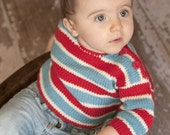 Hand Knit Baby Sweater, Unisex -- COLUMBIA ROAD -- Red, White, and Aqua Striped -- Perfect for Spring Baby Showers -- Childrens Clothing