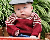 Children Clothing -- Baby Sweater, Unisex, Hand Knit -- BELMONT STREET -- Cranberry and Oatmeal Striped -- Perfect for Baby Showers