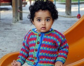 Baby Sweater, Hand Knit, Unisex, MACOMB STREET -- Multi-Colored Cardigan -- Childrens Clothing -- Perfect for Spring Baby Showers