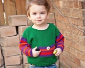 Baby Sweater, Boys, Hand Knit -- Childrens Clothing -- VAN NESS STREET -- Green, Red, Orange, and Purple Baseball Striped -- Fall and Winter