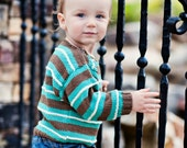 Hand Knit Baby Sweater, Unisex -- SOMERSET PLACE -- Turquoise and Brown Striped