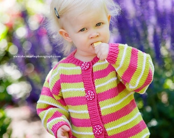 Hand Knit Baby Sweater, Girls -- Children Clothing -- LINNEAN AVENUE -- Pink and Green Striped Cardigan -- Perfect for Spring Baby Showers