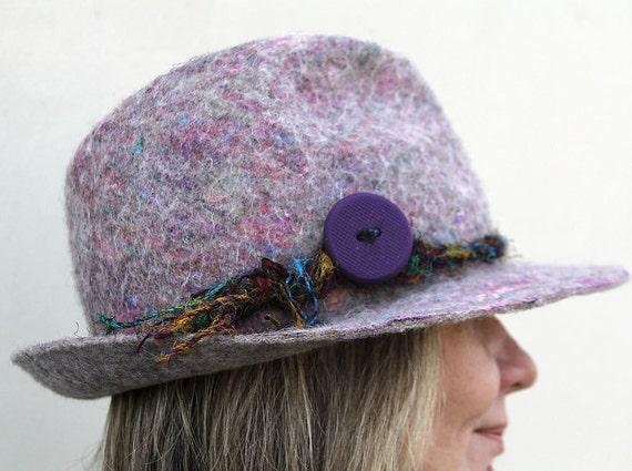 Hand felted classical fedora original hat in gray purple multicolor sari yarn trim unisex spring fashion gift idea