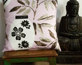 handmade pillow cover, bamboo and lanterns on pink, UK designer fabric 50x50, 20x20 in