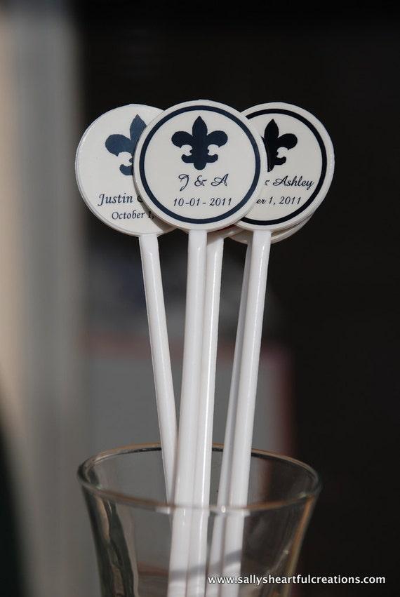 Fleur de Lis Stir Sticks Customized for Weddings, Bachelorette/ Bachelor Parties, Bridal Showers