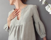 Dress or Tunic - My Garden - Hemp linen  color