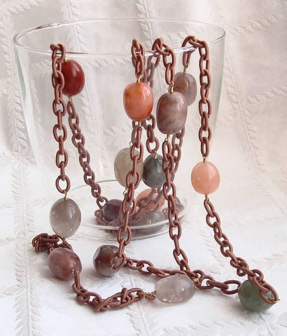 Brown, Green, Peach, Gray, Clear Oval Quartz Stone Necklace Wire Wrapped with Brown Nylon Chord --Big Stones / Long Necklace