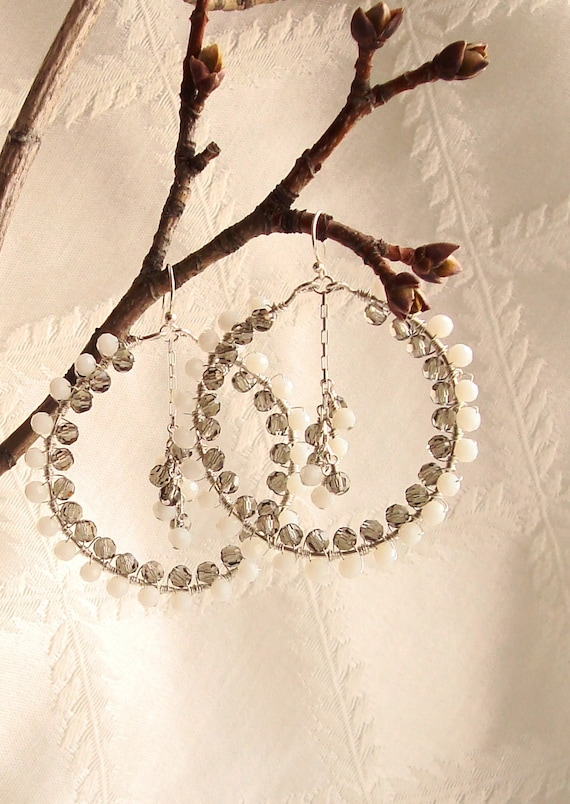Wire Wrapped Gray and White Faceted Glass Crystal Sterling Silver Hoops with Center Cluster  --Sparkly Earrings