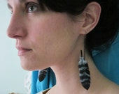 Falcon feather chain ecofriendly bike tube earrings
