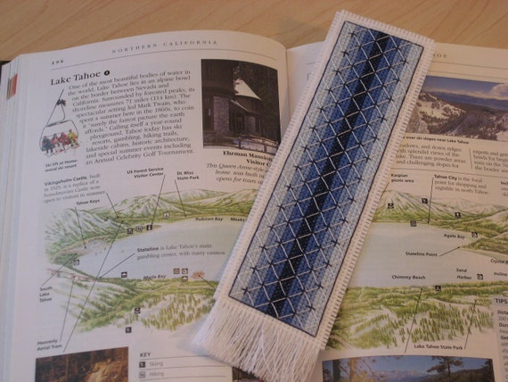 Handmade Blue and White Cross Stitched Bookmark