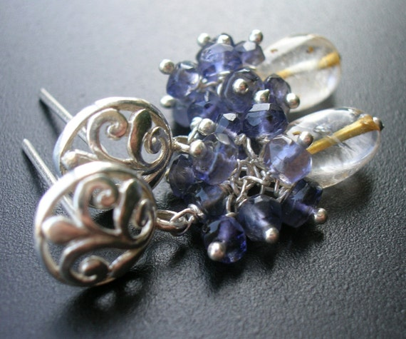 Citrine, Iolite, Sterling Silver Earrings -- Iris