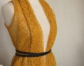 Womens Crochet Like Sleeveless Vest, Wear Long or Cropped in Honey Mustard Yellow and Sky Gray - JILL