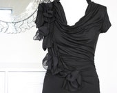 SALE - Black or Blue, Chiffon Tshirt Blouse Top with Applique Sash Floral Cowl - SASHA