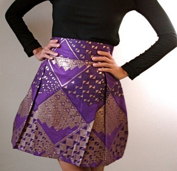 Rebecca - African Cotton Print Skirt with Exposed Zipper