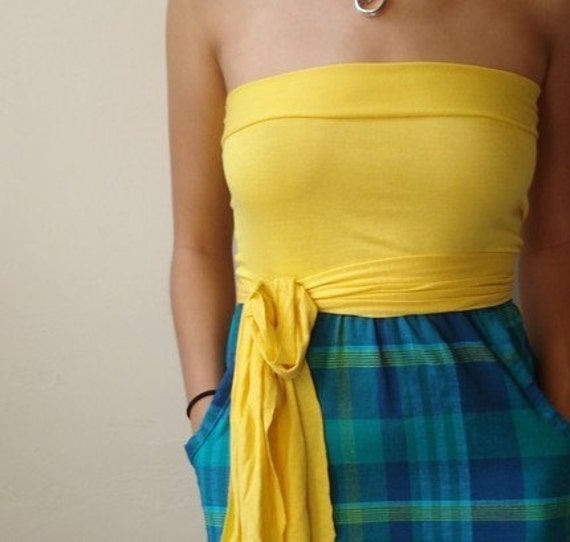 Yellow Aqua Plaid Sun dress with Belted Waist - JESSICA