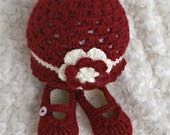 IN STOCK. 3-6 Mo. Flower Beanie and Button Maryjanes red/cream  Check out my shop for more colors/sizes.