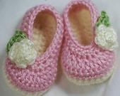 Baby Ballet Slippers Crochet Pattern  for Baby Rosey Ballet Slippers -  4 sizes - Newborn to 12 months. digital