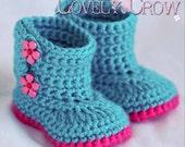 Booties Crochet Pattern for Baby Garden Boots -  4 sizes - Newborn to 12 months. digital
