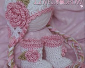 Layette Crochet Patterns Sugar and Spice Set.  Includes patterns for Sugar and Spice Earflap Beanie, and Baby Sugar and Spice Boots. digital