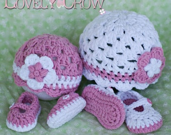Bulky Yarn Crochet Pattern for Bulky Baby Button Maryjanes , and  Bulky Princess Flower Beanie Hat digital