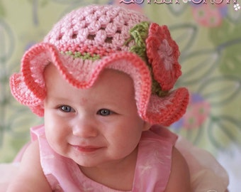 Hat Crochet Pattern for Teaparty Hat - sizes from newborn to 4T digital