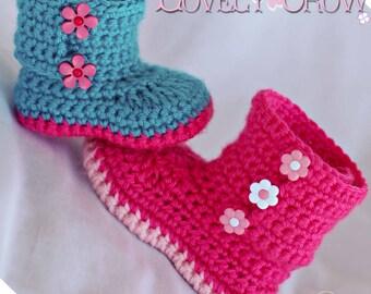 Crochet Pattern Baby Booties for Baby Garden Boots -  4 sizes - Newborn to 12 months. digital