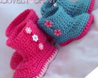 Boots Crochet Pattern Boots for Baby Garden Boots -  4 sizes - Newborn to 12 months. digital