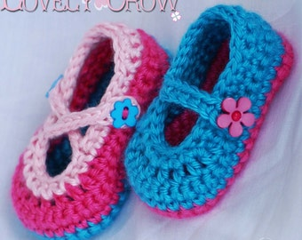 Booties Crochet Pattern for Baby Teaparty Maryjanes -  4 sizes - Newborn to 12 months. 2 strap style options included. digital