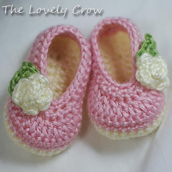 Crochet Baby Ballet Shoes Pattern : Baby Ballet Slippers Crochet Pattern for Baby Rosey Ballet