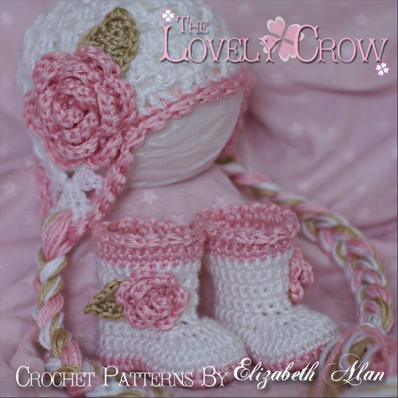 Baby Girl Crochet Patterns Sugar and Spice Set.  Includes Sugar and Spice Earflap Beanie, and Baby Sugar and Spice Boots. digital