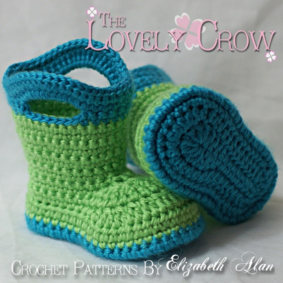 Baby Crochet Pattern Baby  for Baby Goshalosh Boots -  4 sizes - Newborn to 12 months. digital