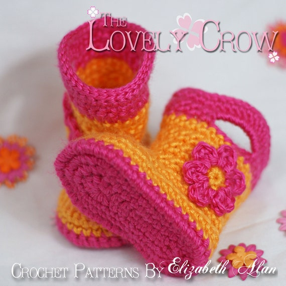 Boots Crochet Pattern Baby Boots  for Baby Goshalosh Boots -  4 sizes - Newborn to 12 months.