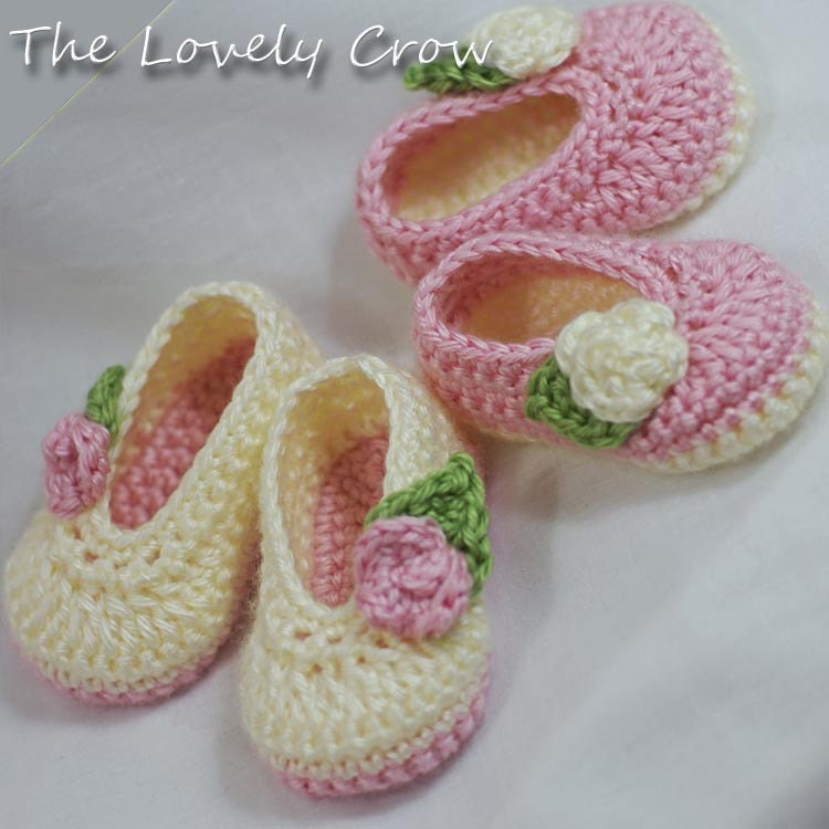 Free Crochet Pattern For Baby Ballet Flats : Ballet Slippers Crochet Pattern for Baby ROSEY BALLET SLIPPERS