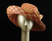 WIDE BRIM HAT - Red and Camel Panama Straw Hat