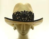 Natural Straw Wide Brim Hat for Women - Cowboy Hat