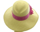 Summer Hat - Wide Brim Hat for Women - Straw Hat - Valentine Sun Hat - Hot Pink Flower