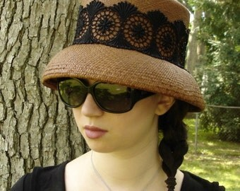 CLOCHE HAT for Women - Straw Hat - Panama Hat - Big Hat -  Sun Hat - Handmade Hat - Etsy Hats - Millinery Shop - Brown Hat - Lace Hat